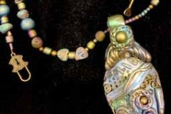 Polymer-and-Polymer-and-mica-pendent-with-titanium-coated-pyrite-chip-and-druzy-beads